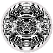 Mystical Eye - Abstract Black And White Graphic Drawing Round Beach Towel