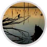Mystical Sunrise On The Lake Round Beach Towel