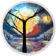 Mystical Twilight Forest Round Beach Towel