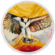 Mythical Eagle Perching Oil Painting Round Beach Towel