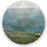 Myvatn Mooncrater Round Beach Towel