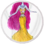 Mzia Meisouri. Beauty Girl From Space Round Beach Towel