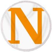 N In Tangerine Typewriter Style Round Beach Towel