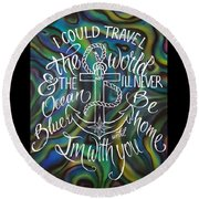 N/z Abalone /lettering Round Beach Towel
