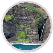 Na Pali Waterfall Round Beach Towel