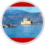 Naflion Greece Harbor Fortress Round Beach Towel