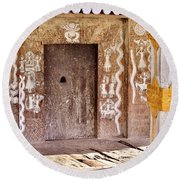 Nag Temple Doorway - Huri India Round Beach Towel