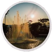 Nagasaki Peace Park Fountain Round Beach Towel