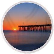 Nags Head Fishing Pier Sunrise Round Beach Towel