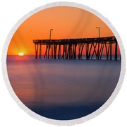 Nags Head Fishing Pier Sunrise Panorama Round Beach Towel