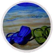 Naked Feet On The Beach Round Beach Towel by Patti Schermerhorn