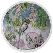 Naked Garden I Round Beach Towel