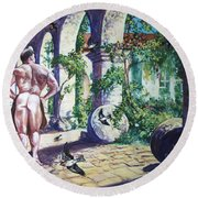 Naked In The Cloisters Round Beach Towel
