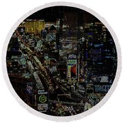 Naked Moon Over The Strip Round Beach Towel