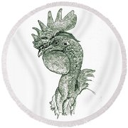 Naked Neck Rooster Round Beach Towel