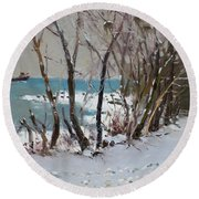 Naked Trees By The Lake Shore Round Beach Towel