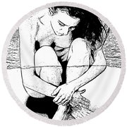 Naked Woman Comic Illustration Round Beach Towel