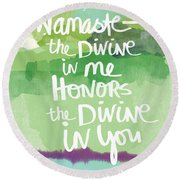 Namaste- Watercolor Card Round Beach Towel