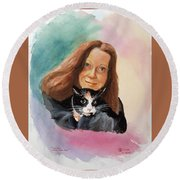 Nandi And Her Cat Round Beach Towel by Charles Hetenyi