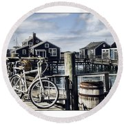 Nantucket Bikes 1 Round Beach Towel by Tammy Wetzel