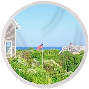 Nantucket Cottages Overlooking The Sea Round Beach Towel