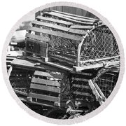 Nantucket Lobster Traps Round Beach Towel