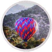 Napa Valley Morning Balloon Round Beach Towel