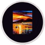 Naples - Sunset Above Vesuvius Round Beach Towel