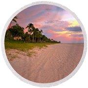 Naples Beach At Sunset, Florida Round Beach Towel