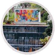 Naples Botanical Waterfall - Refreshing Garden Round Beach Towel