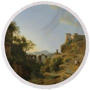 Naples Gulf With The Backdrop Of The Island Of Ischia  Round Beach Towel