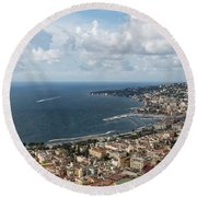 Naples Italy Aerial Perspective - Coastal Beauty Of Mergellina, Posillipo And Marechiaro Round Beach Towel