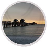 Naples Pier - Golden Hour At The Pier Round Beach Towel