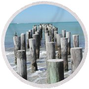 Naples Pier Round Beach Towel