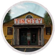 Naples Tin City - Open For Business Round Beach Towel