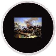 Napoleon Bonaparte Leading His Troops Over The Bridge Round Beach Towel