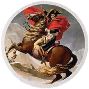Napoleon Crossing The Alps Round Beach Towel by Jacques Louis David