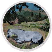Napping Horse Round Beach Towel