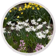 Narcissus And Daffodils In A Spring Flowerbed Round Beach Towel
