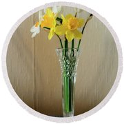 Narcissus In Glass Vase Round Beach Towel