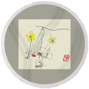 Narcissus  With Cricket Round Beach Towel