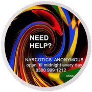 Narcotics Anonymous Poster Round Beach Towel