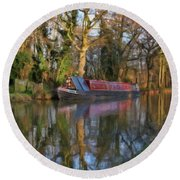 Narrow Boat On Wey Navigation - P4a16008 Round Beach Towel