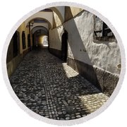 Narrow Cobblestone Alley Ribji Trg Or Fish Square From Cankar Qu Round Beach Towel