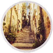 Narrow Street In Old Town Dubrovnik Round Beach Towel