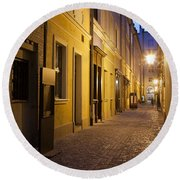 Narrow Street In Old Town Of Wroclaw In Poland Round Beach Towel