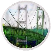 Narrows Bridge Abstract Round Beach Towel