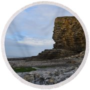 Nash Point In Wales Round Beach Towel