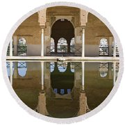 Nasrid Palace Arches Reflection At The Alhambra Granada Round Beach Towel