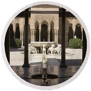 Nasrid Palaces Alhambra Granada Spain Europe Round Beach Towel